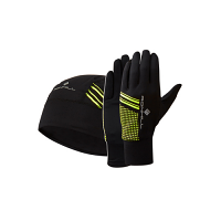 RonHill Beanie and Glove Set Black/Fluo Yellow