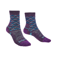 Bridgedale HIKE Lightweight Merino Performance Ankle Pattern Ladies Purple/Aqua
