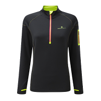 RonHill Ladies Vizion winter 1/2 Zip Tee Black/Fluo Yellow
