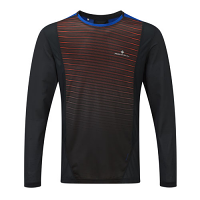 RonHill Mens Stride Long Sleeve Crew Black/Flame