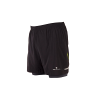"""RonHill Mens Stride Twin 5"""" Short Black/Charcoal/Fluo Yellow"""