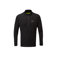 RonHill Mens Tech Merino Half Zip Tee Black/Fluo Yellow