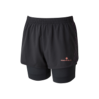 Ron Hill Women's Infinity Marathon Twin Short Black/Hot Coral