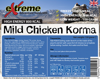 Extreme Adventure Food Mild Chicken Korma 800 Kcal