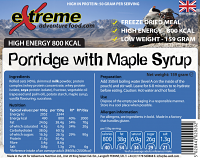 Extreme Adventure Food Porridge & Maple syrup 800 Kcal